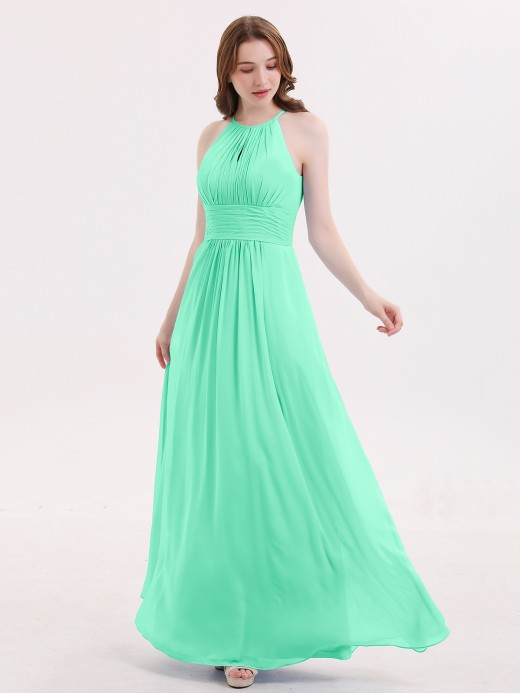 Babaroni Irene Halter Long Chiffon Dress with Pleated Waist