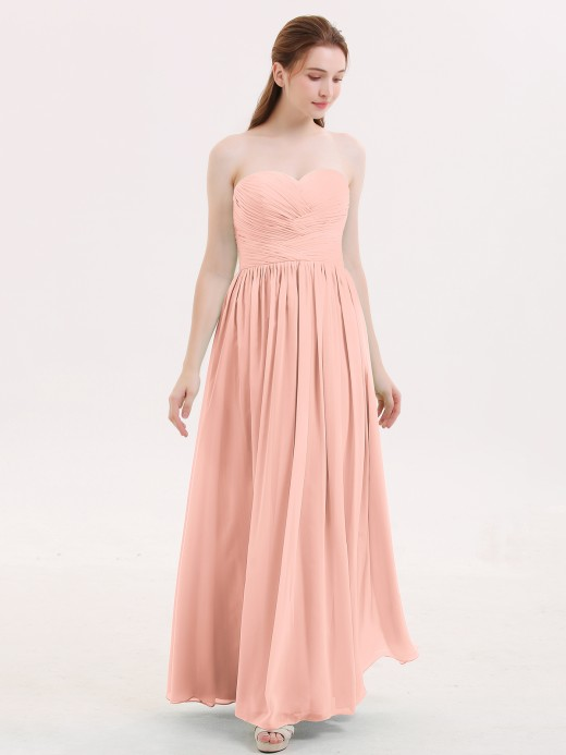 Babaroni Isabel Strapless Cross-pleated Full Length Bridesmaid Gown