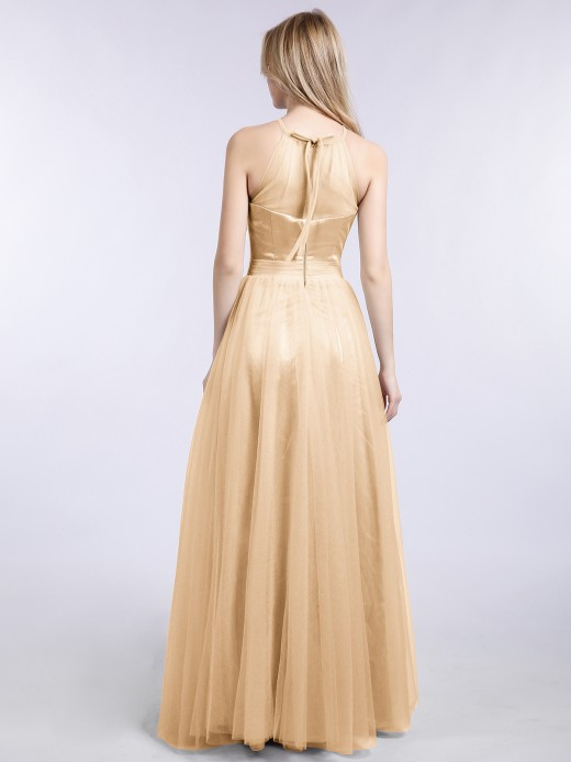 Babaroni Ishtar Illusion Neckline Long Tulle Dress