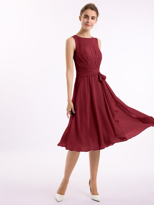 Babaroni Isobel Scoop Neck Chiffon Short Dress with Sash Bow