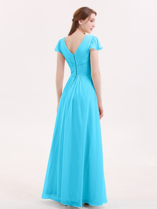 Babaroni Jacqueline Cap Sleeves Chiffon Long Bridesmaid Dress