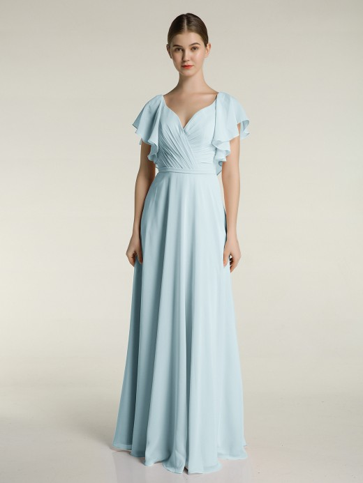 Babaroni Jamie V-neck Cap Sleeves Dresses with Ruffles