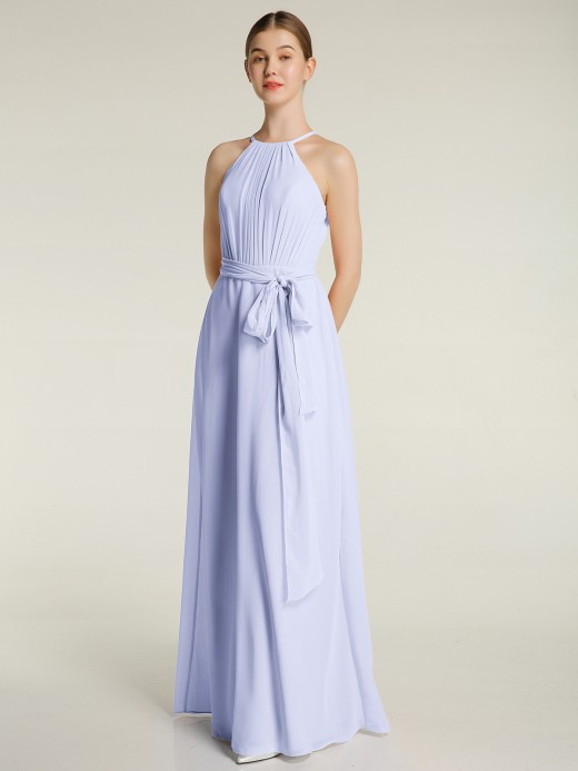 Babaroni Jane Full Length Chiffon Gowns Halter Neck with Bow