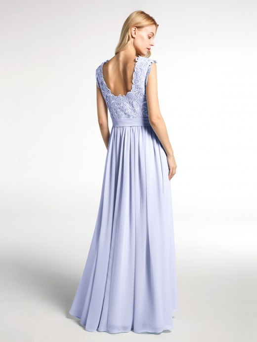Babaroni Jennifer Long Chiffon Dress with Lace Appliqued Bodice