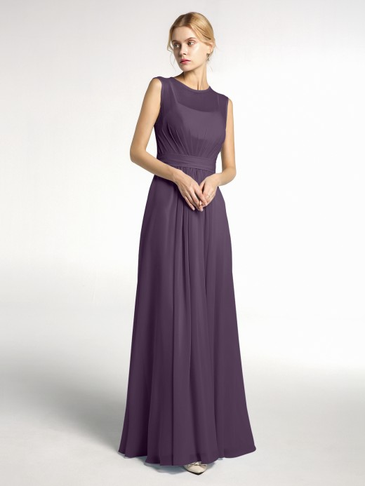 Babaroni Jessie FAUX-Wrap Long Chiffon Gown with Belt