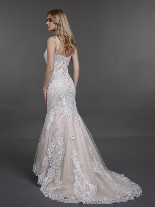 Babaroni Jill Vintage Lace Mermaid Wedding Dress with Train