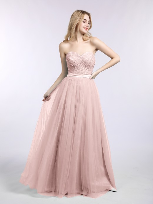 Joan Lace and Tulle Long Gown with Sweetheart US14
