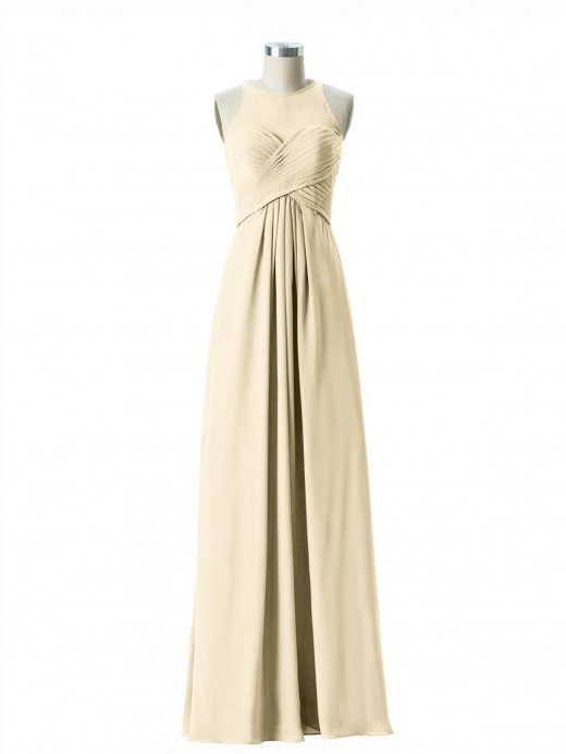 Babaroni Jocelyn Illusion Sweetheart Neck Empire Chiffon Gown