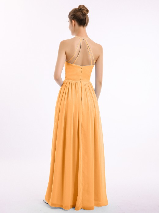 Babaroni Jodie Halter High Neck Chiffon Bridesmaid Dress