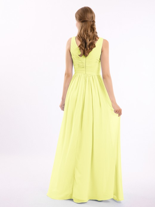 Babaroni Josephine Chiffon V-neck Dress with Cascade Skirt