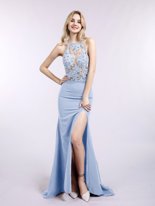 Babaroni Joyce Halter Mermaid Sexy Dress with Slit