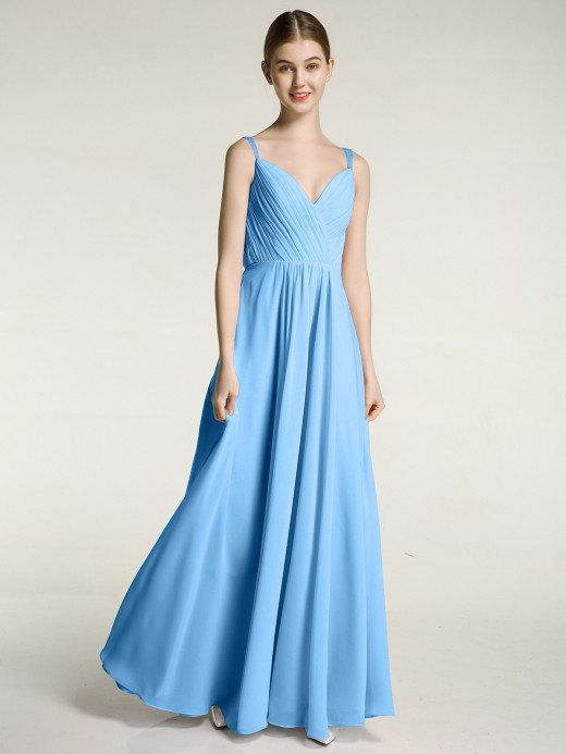 Babaroni Judy V-neck Chiffon Dresses with Beaded Straps