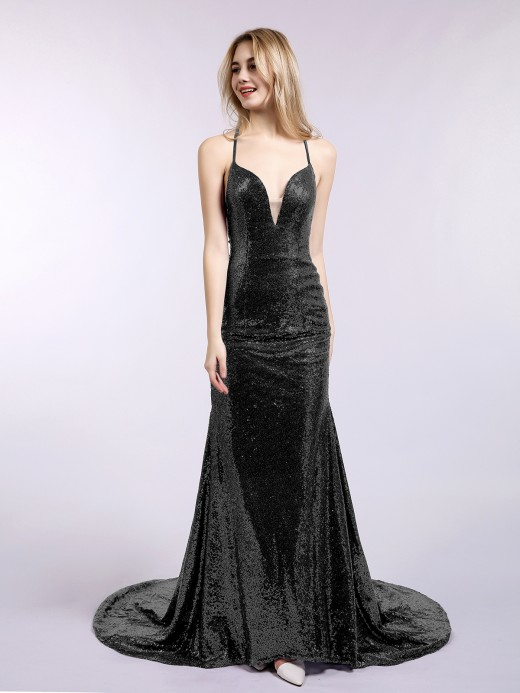 Babaroni Julie Backless Mermaid Sequins Gown with Train