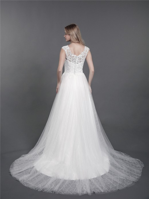 Babaroni Kalila Shoulder Strap Lace Wedding Gown with Train