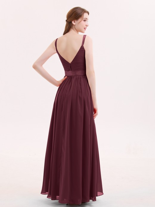 Babaroni Kama V Neck Chiffon Bridesmaid Dress with Satin Sash Bow