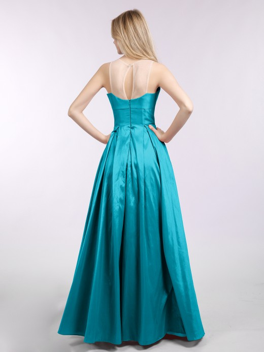 Babaroni Karen A-line Taffeta Long Dress with Pockets