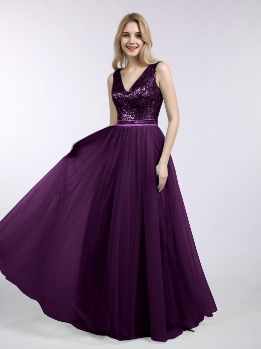 Babaroni Kelly Sequins and Tulle Long Dress with V-neck