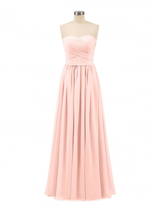 Babaroni Kimberley Chiffon Long Strapless Dress for Bridemsids