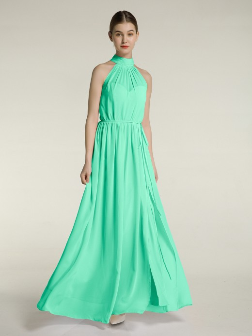 Babaroni Kimi High Neck Chiffon Dresses with Slit and Sash Bow
