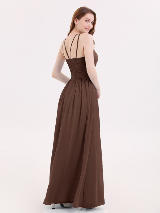 Babaroni Kristin Double Strap Halter Long Chiffon Gowns