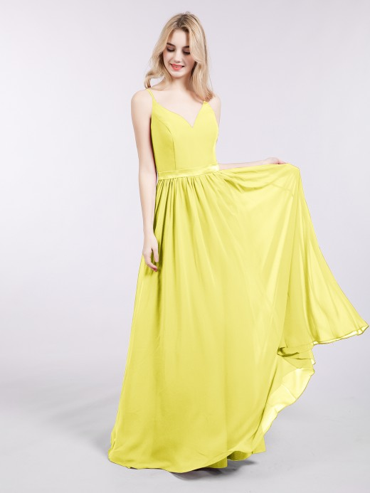 18536cbd116 Babaroni Leona Spaghetti Strap Chiffon Bridesmaid Dress ...