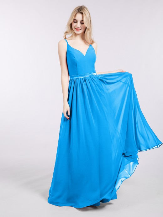 Babaroni Leona Spaghetti Strap Chiffon Bridesmaid Dress