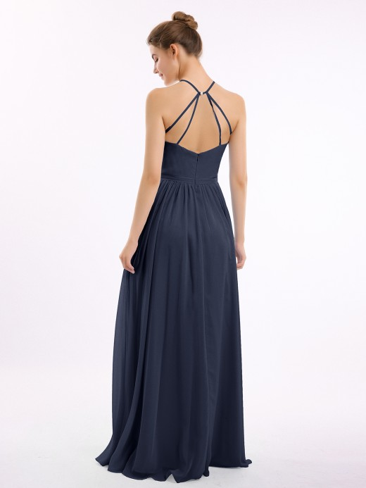 Lesley Halter Long Chiffon Gowns with Double Straps US8