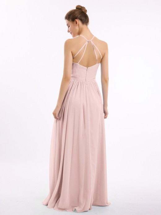 Lesley Halter Long Chiffon Gowns with Double Straps US6 US12