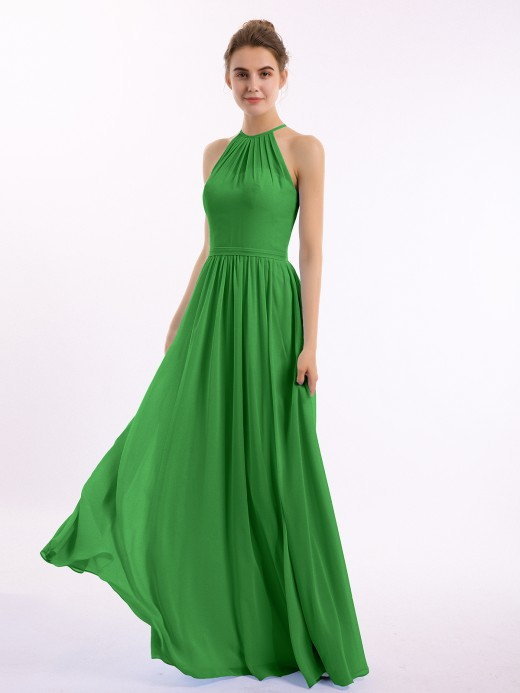Babaroni Lesley Halter Long Chiffon Gowns with Double Strap