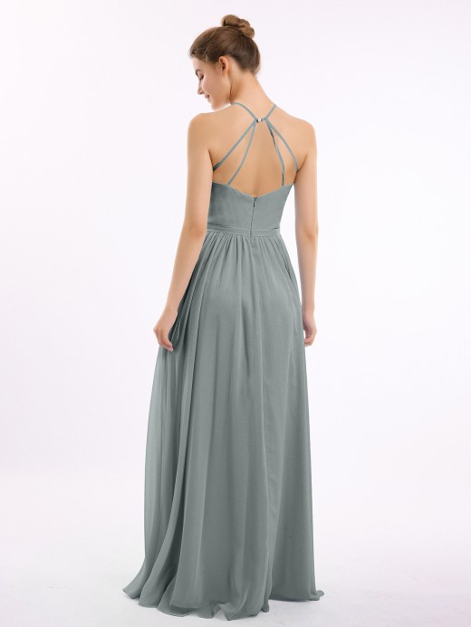 Babaroni Lesley Halter Long Chiffon Gowns with Double Straps