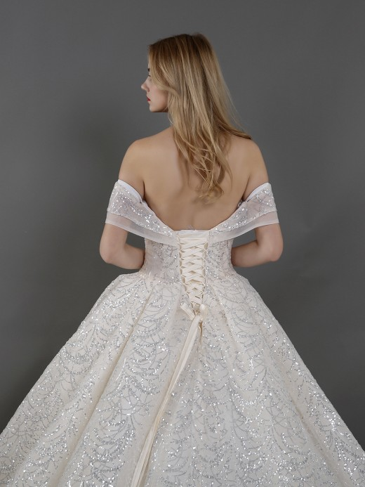 Babaroni Lilith Off Shoulder Ball Gown Sequins Bridal Gown