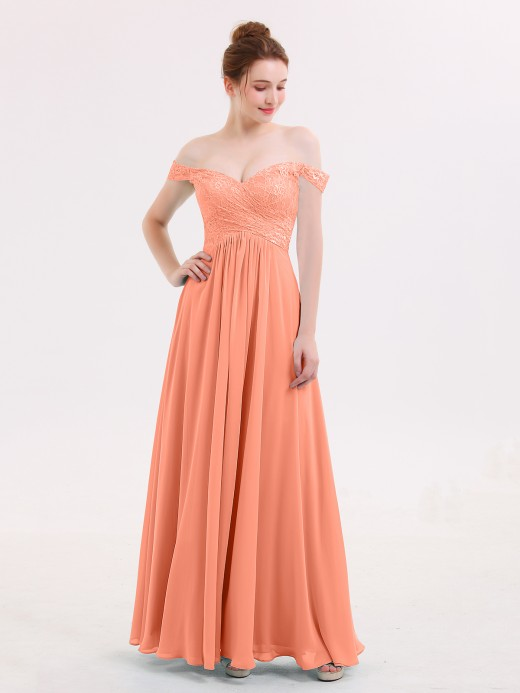 Babaroni Lillian Off Shoulder Chiffon And Lace Empire Dress