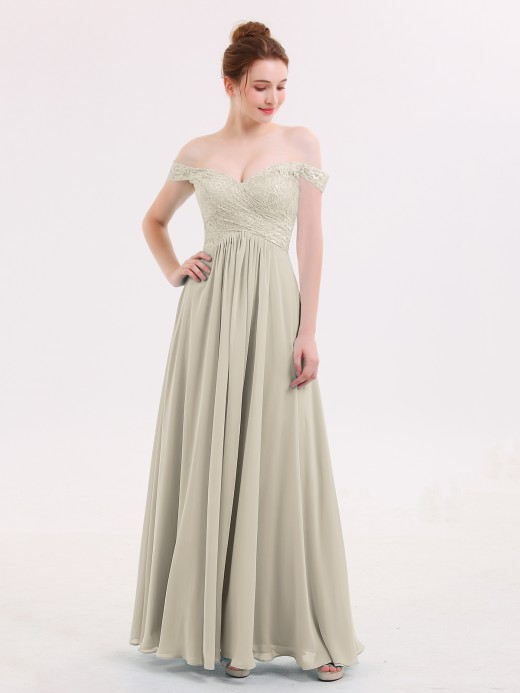Taupe Sleeves Bridesmaid Dresses Gowns Babaroni