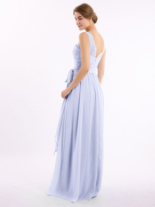 Babaroni Linda Lace Straps Long Chiffon Dresses with Bow Sash