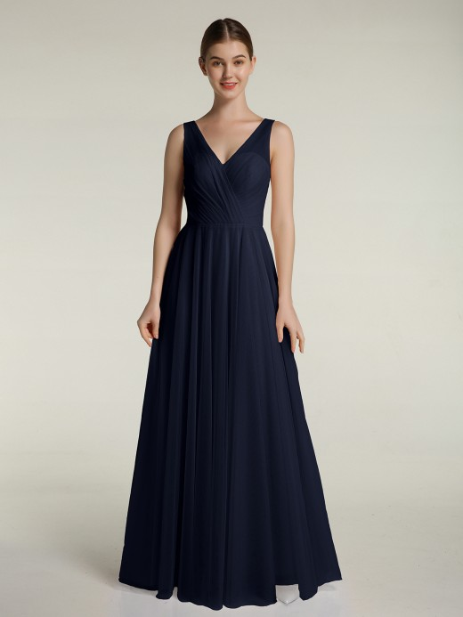 Babaroni Lorelei Illusion V-neck Tulle Long Dresses