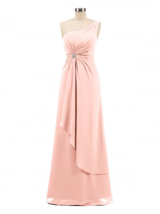 Babaroni Lorraine One Shoulder Chiffon Dress with Cascade Skirt