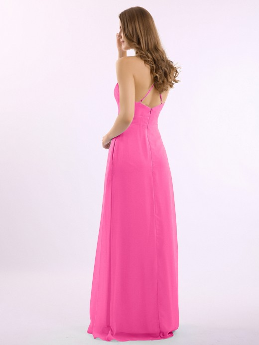 Louise Spaghetti Strap V-neck Chiffon Gowns with Pocket US10