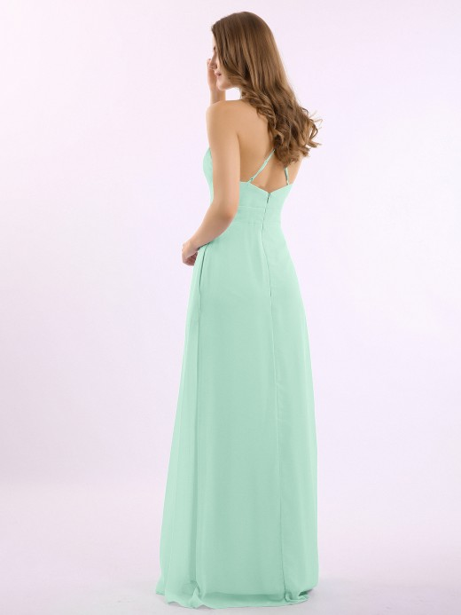 Babaroni Louise Spaghetti Strap V-neck Chiffon Gowns with Pocket