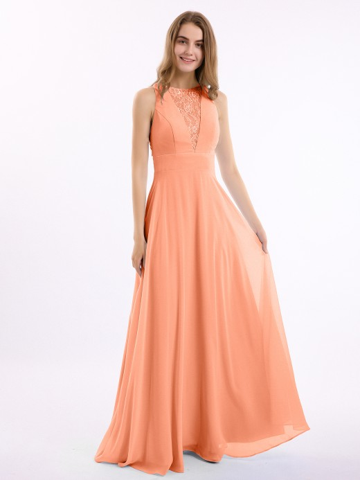 Babaroni Lucille Lace Deep V-neck and Back Chiffon Long Dresses