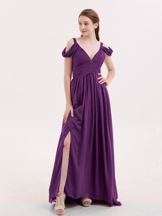 Babaroni Lucy Deep V Neck Sexy Chiffon Dress with Slit