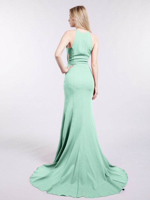 Babaroni Luna Halter Mermaid Jersy Gown with Slit