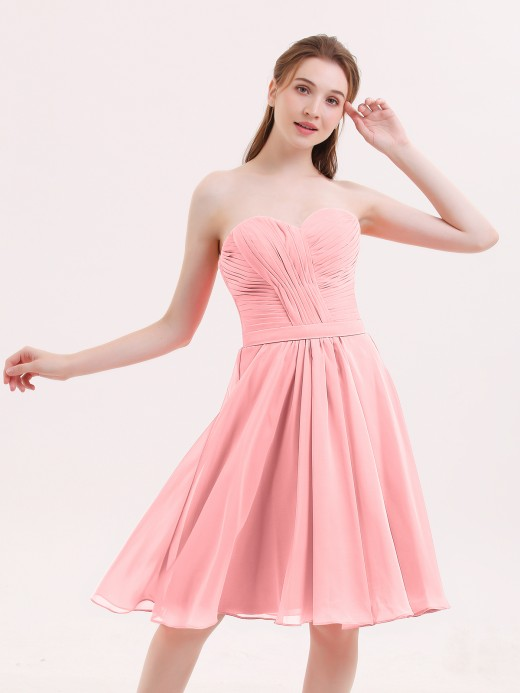 3cf0f1dcc8e Babaroni Lydia Sweetheart Neck Knee Length Chiffon Bridesmaid Gown ...