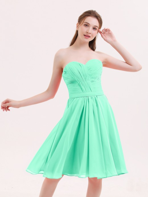 Babaroni Lydia Sweetheart Neck Knee Length Chiffon Bridesmaid Gown