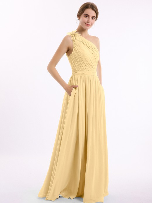 Babaroni Lynn One Flower Shoulder Chiffon Dresses with Pocket
