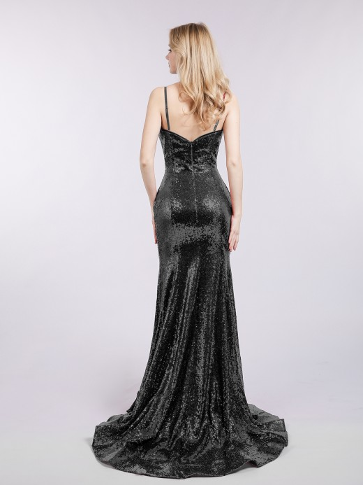 Babaroni Madge Spaghetti Strap Sequins Mermaid Dress