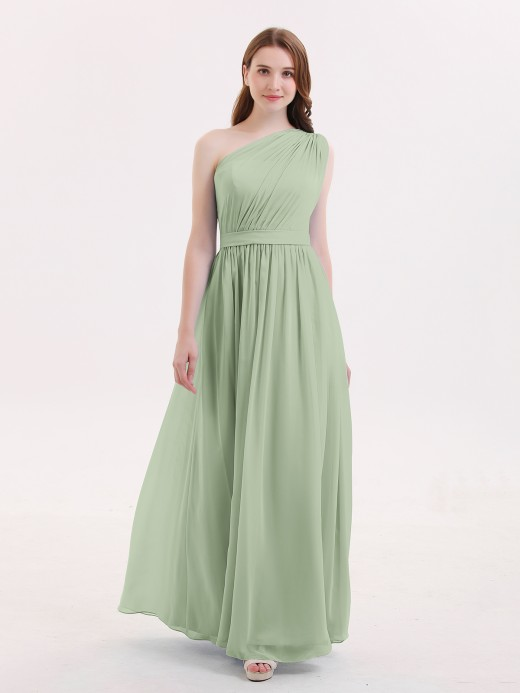 Maggie One Shoulder Chiffon Long Bridesmaid Dress US12