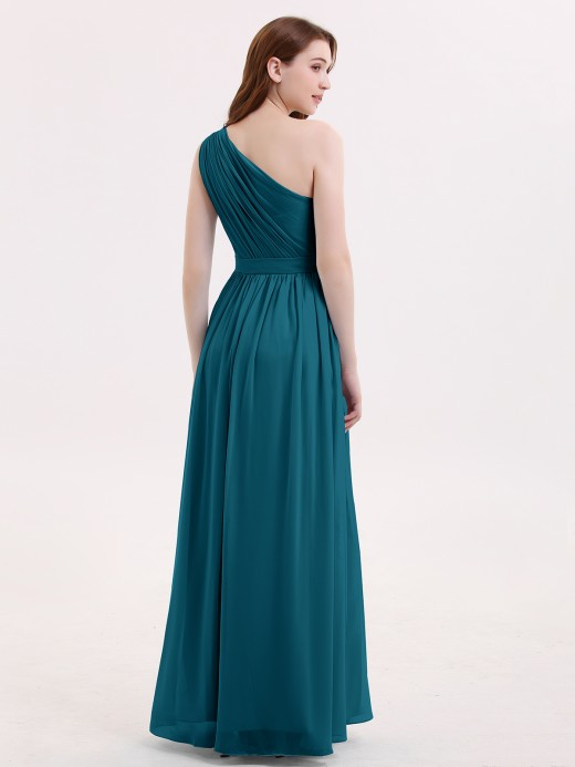 Babaroni Maggie One Shoulder Chiffon Long Bridesmaid Dress