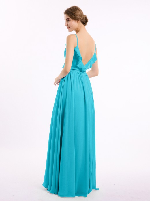 Babaroni Mamie Spaghetti Strap Chiffon Bridesmaid Gowns with V-neck