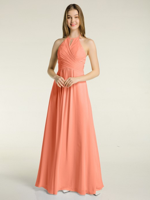 Babaroni Mandy Halter Chiffon Long Dresses for Bridesmaids