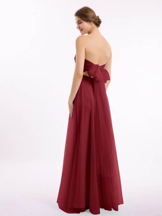 Marcia Sweetheart Strapless Neck Tulle Dresses with Bow US4